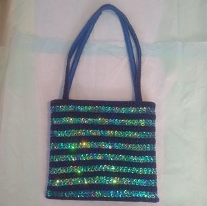 NWOT Blue Boutique Bead and Sequin Bag